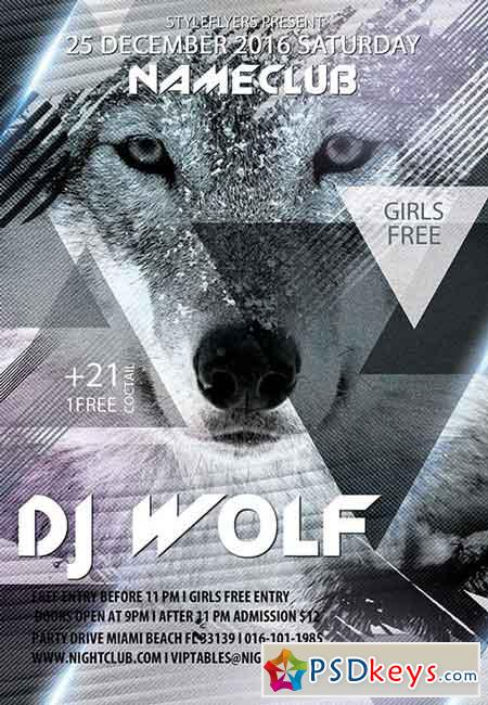 DJ Wolf PSD Flyer Template + Facebook Cover