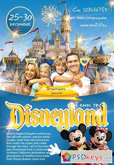 Travel to Disney Land PSD Flyer Template + Facebook Cover ...