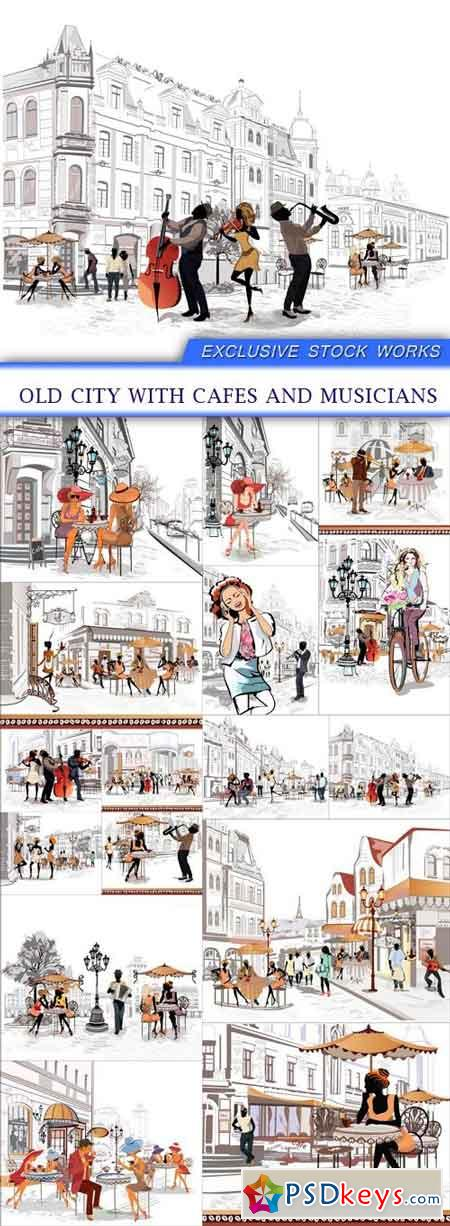 Old city with cafes and musicians 16X EPS