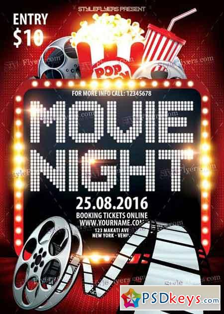 Movie Night PSD Flyer Template » Free Download Photoshop Vector ...