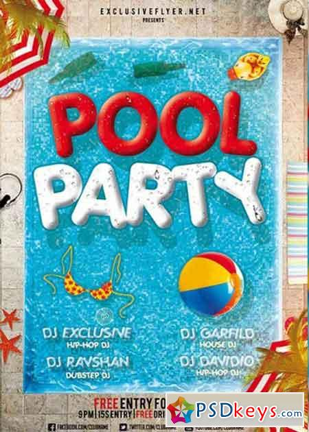 Pool Party V12 Premium Flyer Template + Facebook Cover » Free