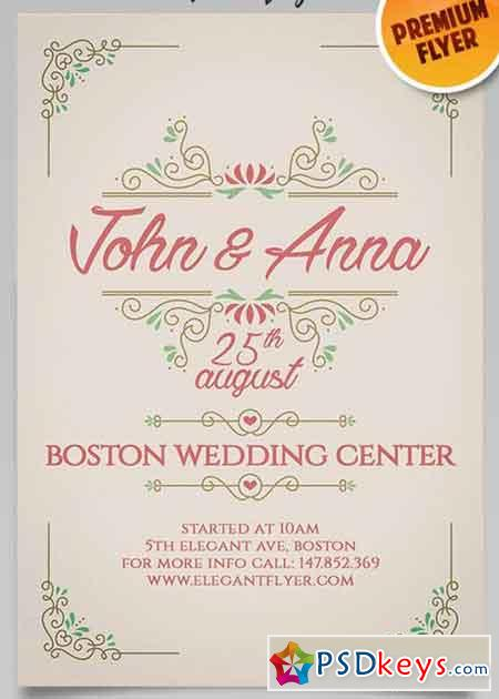 Vintage Wedding Invitation Flyer PSD Template Facebook Cover