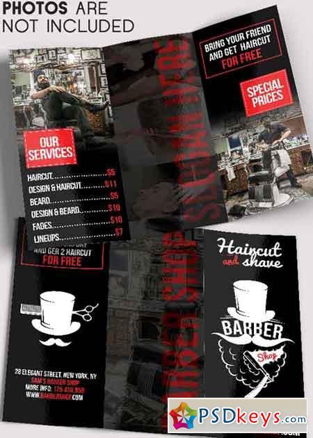Barber Shop Tri Fold Brochure Psd Template Free Download Photoshop