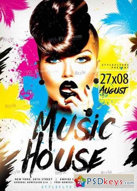 Music house psd flyer template free download photoshop for House music zippyshare