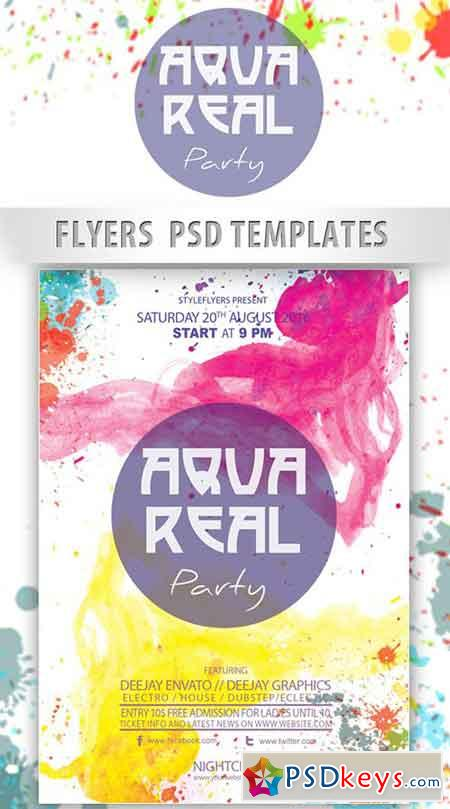 AquaReal Party Flyer PSD Template + Facebook Cover