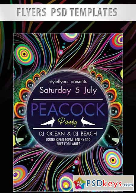 Peacock Party Flyer PSD Template + Facebook Cover