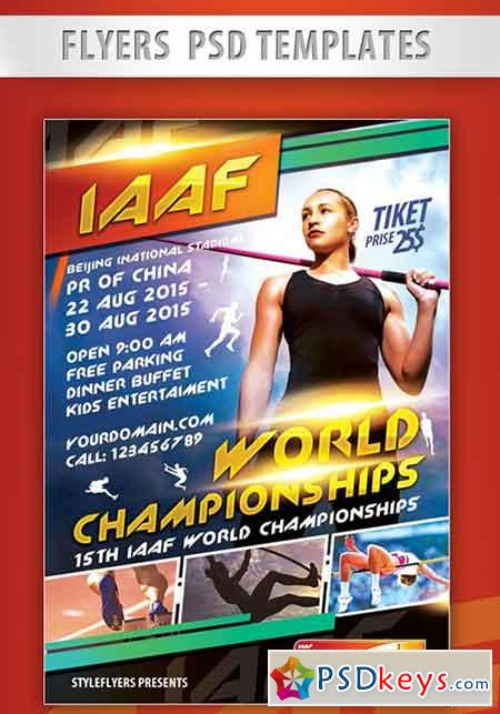IAAF World Championships Flyer PSD Template + Facebook Cover