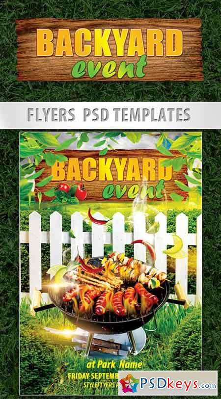 Backyard Event PSD Template + Facebook Cover