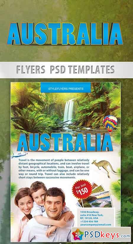 Australia – Travel Free Flyer PSD Template + Facebook Cover