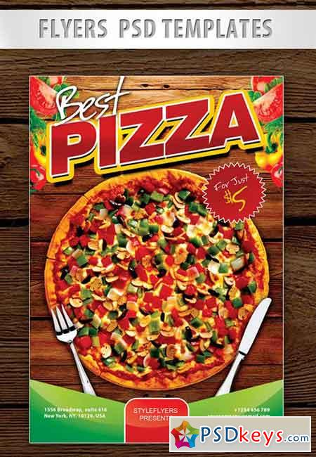 Best Pizza ad Flyer PSD Template + Facebook Cover