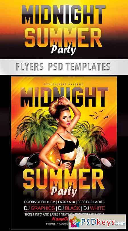 Midnight Summer Party Flyer PSD Template + Facebook Cover