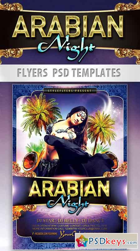 Arabian Night Party Flyer PSD Template + Facebook Cover
