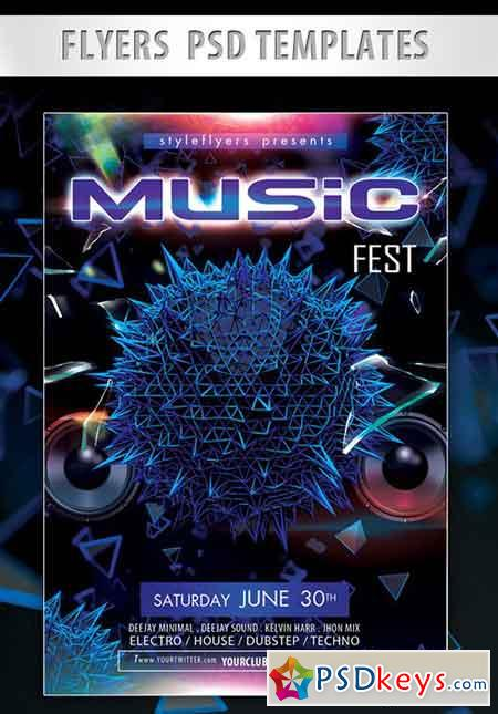 Music Fest Flyer PSD Template + Facebook Cover