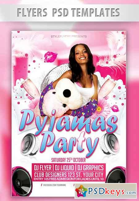 Pyjamas Party Flyer PSD Template + Facebook Cover