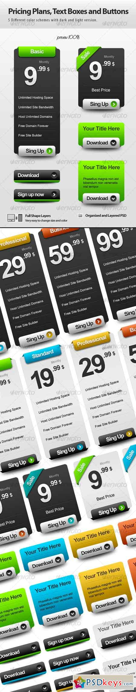 Pricing Plans, Text Boxes and Buttons 116952