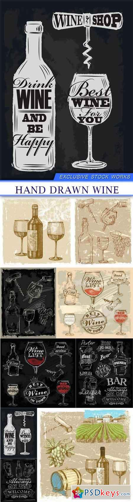 hand drawn wine 9X EPS