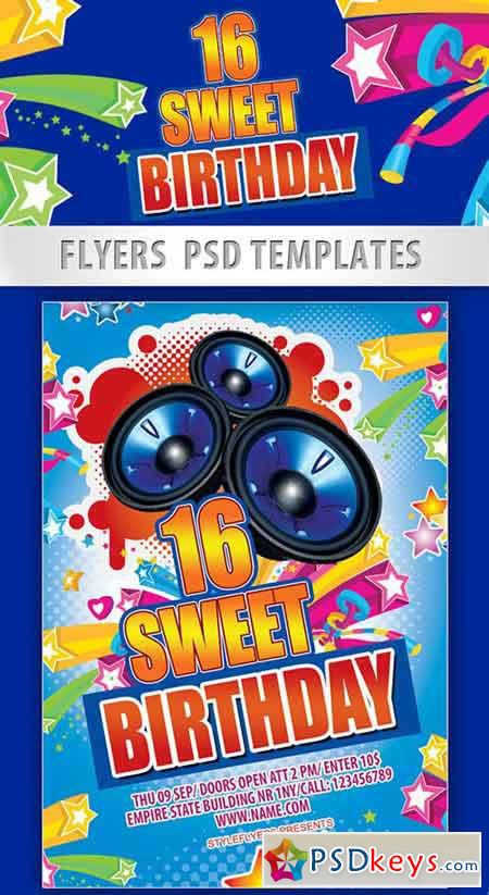 Sweet 16 Birthday Party Flyer PSD Template + Facebook