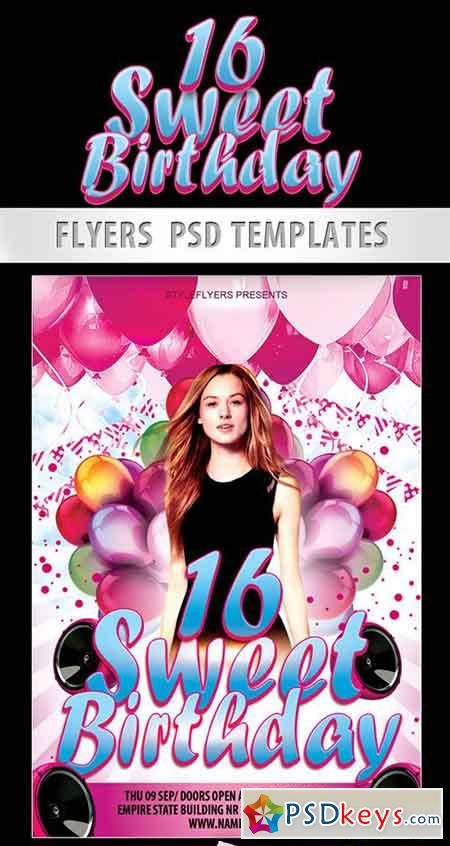Sweet 16 Birthday Party Psd Template Facebook Cover