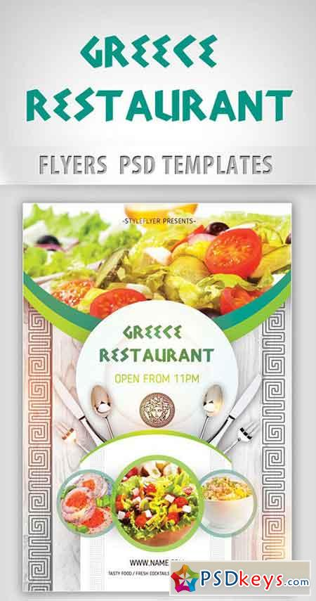 greece restaurant opening flyer psd template facebook cover free