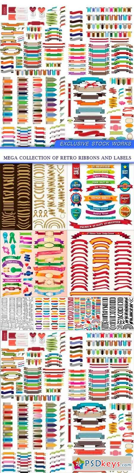 Mega collection of retro ribbons and labels 9x EPS