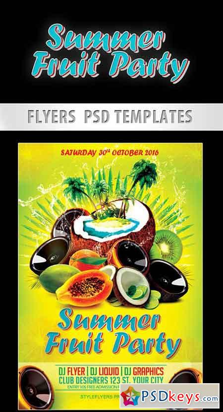 Summer Fruit Party Flyer PSD Template + Facebook Cover
