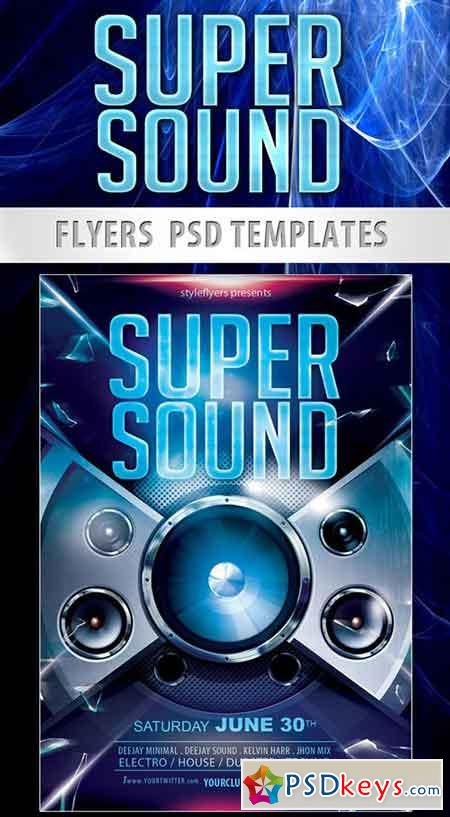 Super Sound Party Flyer PSD Template + Facebook Cover
