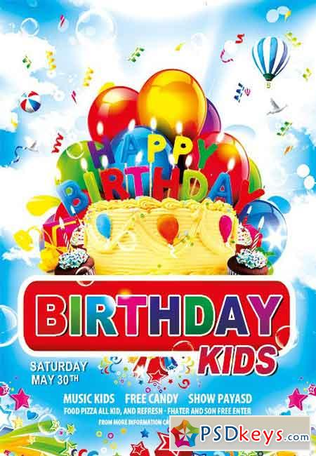 Birthday Kids Party Flyer Psd Template Facebook Cover Free