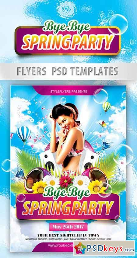 Bye Bye Spring Party Flyer Psd Template  Facebook Cover  Free