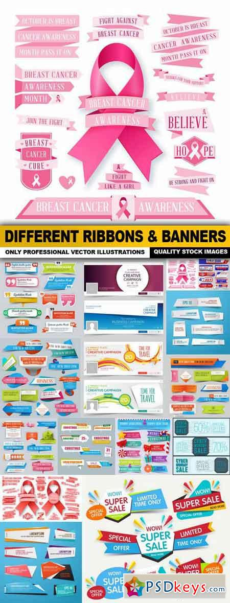 Different Ribbons & Banners - 15 Vector
