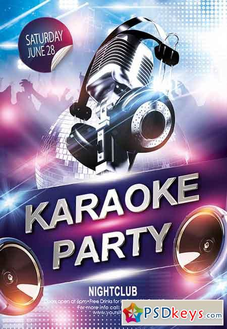Karaoke Party Flyer Psd Template Free Download Photoshop Vector