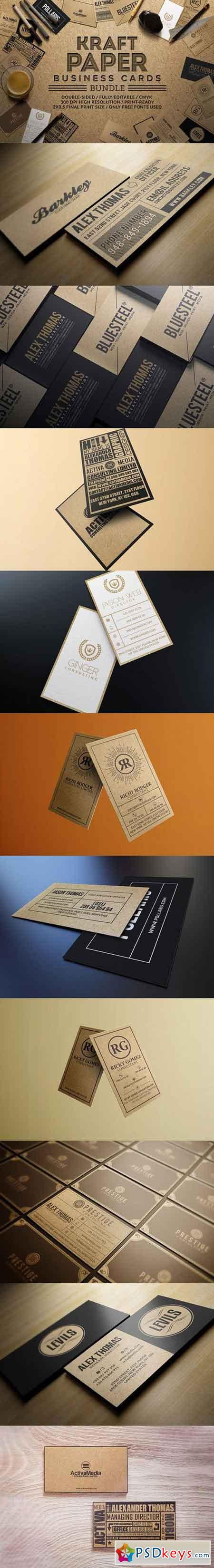 Kraft Paper Business Cards Bundle Free Download