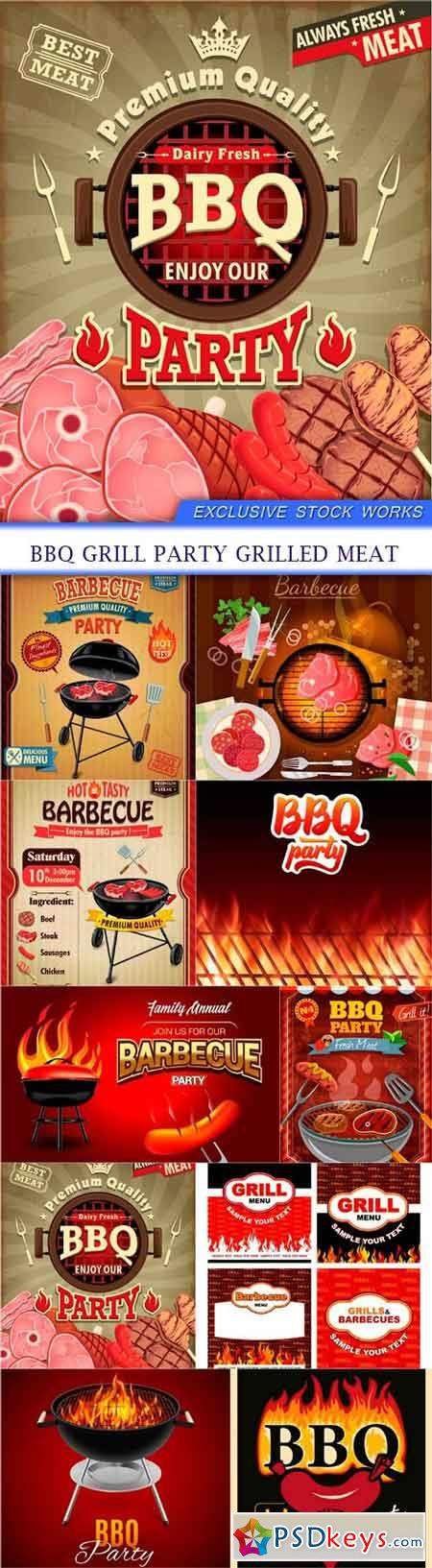 Bbq grill party grilled meat 10X EPS