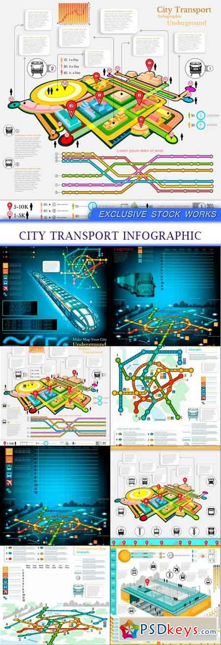 city transport infographic 8X EPS