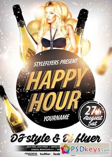 Happy Hour Psd Flyer Template Free Download Photoshop Vector Stock