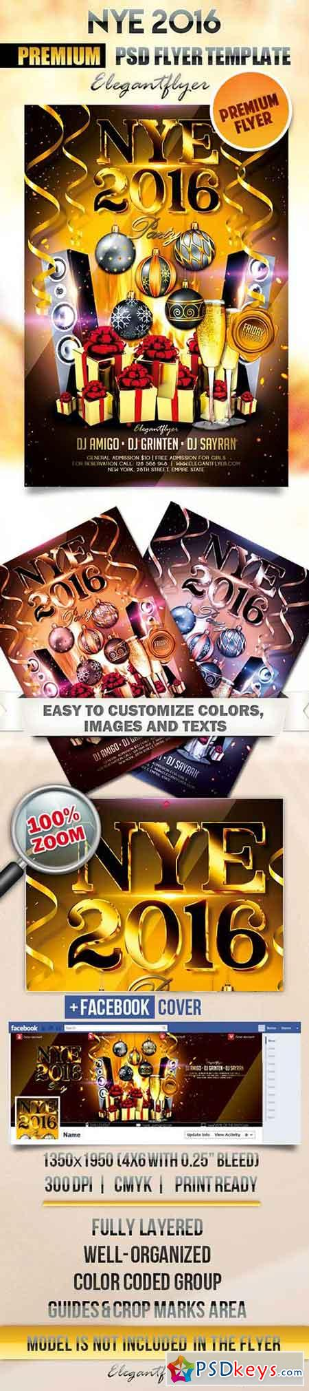NYE 2016 Flyer PSD Template + Facebook Cover