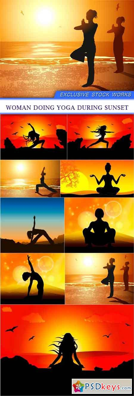 Woman doing yoga during sunset 9X EPS