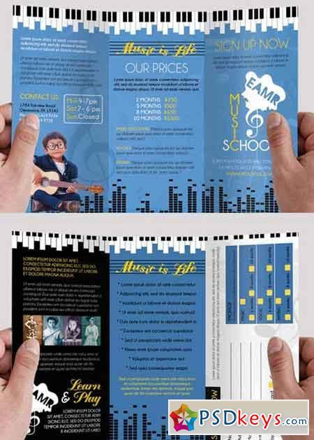 Music school v5 premium tri fold psd brochure template for Music brochure templates