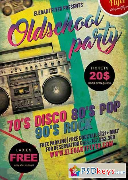 Old School Party V1 Flyer PSD Template + Facebook Cover » Free
