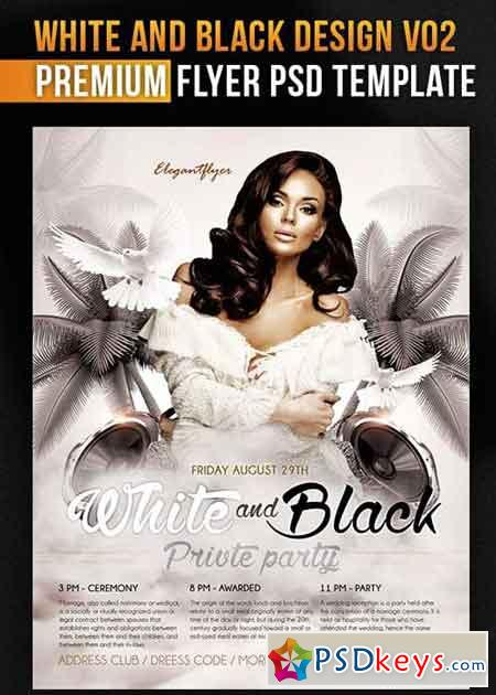 White And Black Design V02 Flyer PSD Template + Facebook Cover