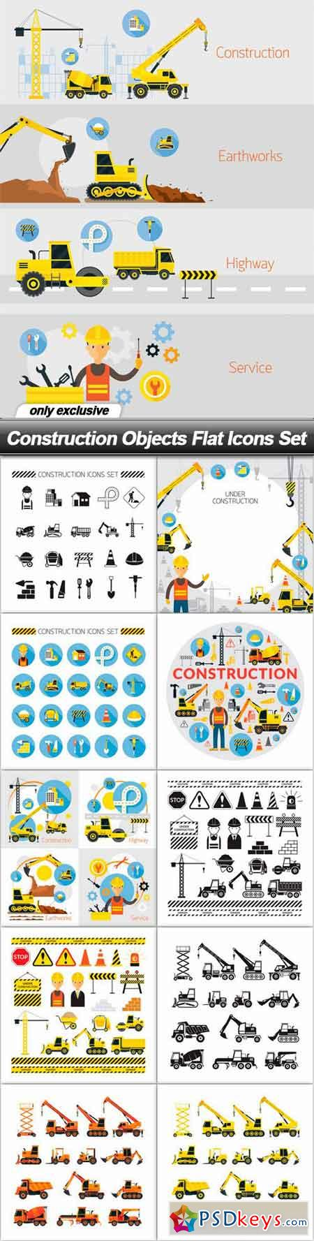 Construction Objects Flat Icons Set - 11 EPS