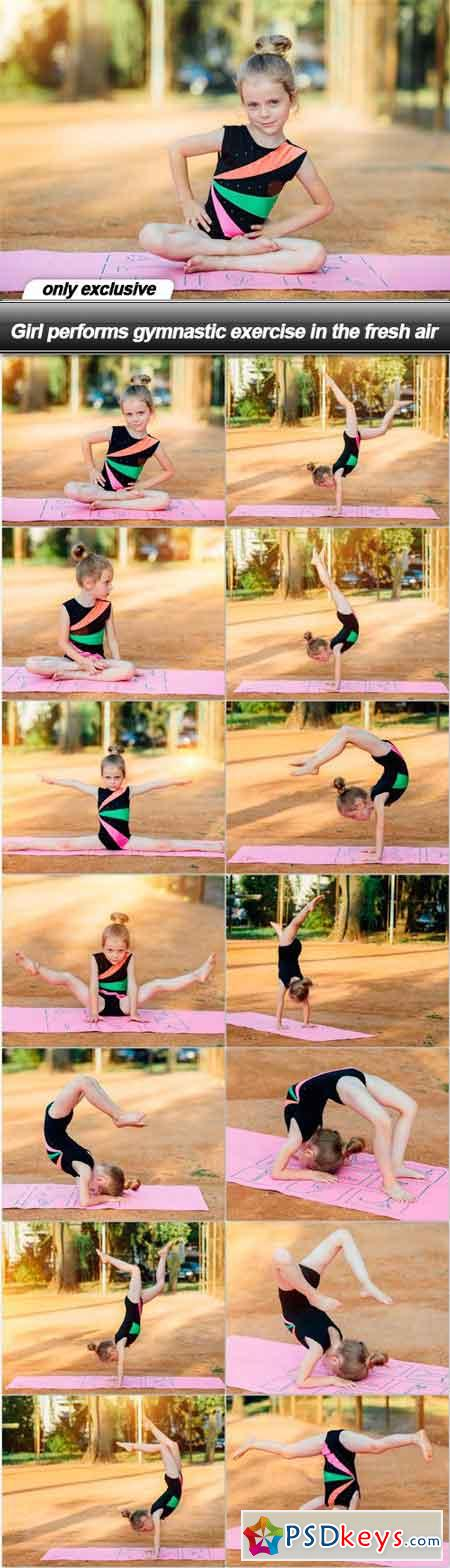 Girl performs gymnastic exercise in the fresh air - 14 UHQ JPEG