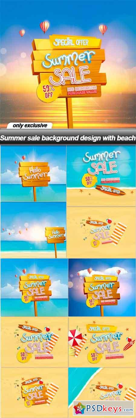 Summer sale background design with beach - 11 EPS