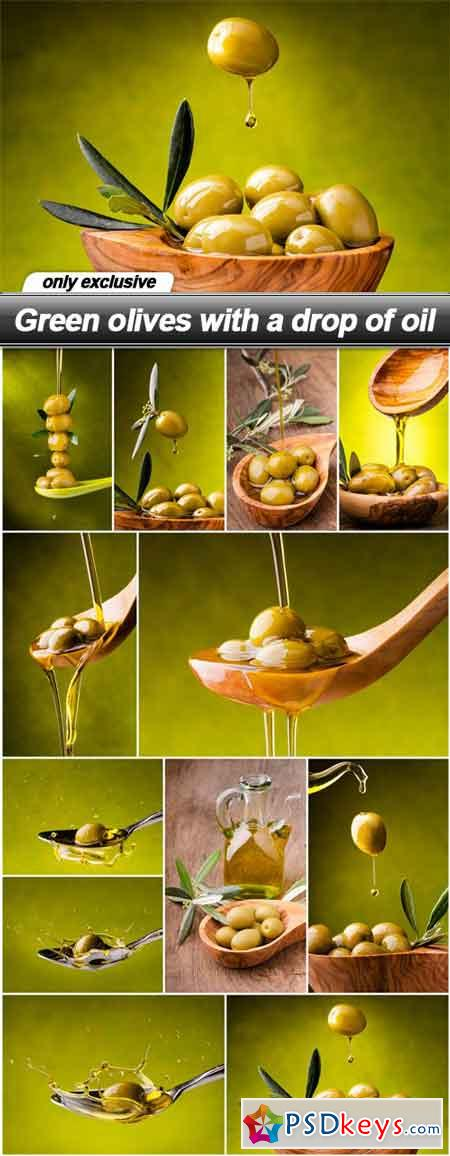Green olives with a drop of oil - 12 UHQ JPEG