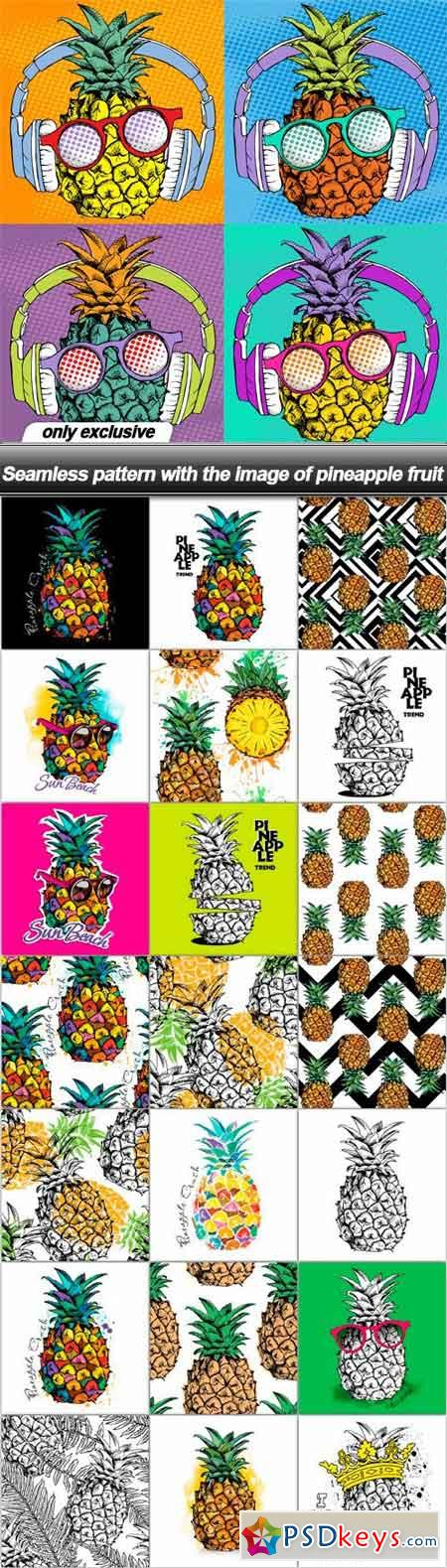 Seamless pattern with the image of pineapple fruit - 38 EPS