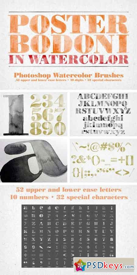 Poster Bodoni Watercolor Brushes 829530