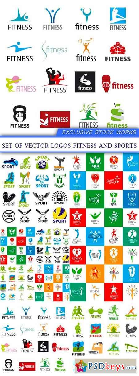 set of vector logos fitness and sports 6X EPS