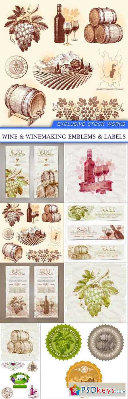 wine & winemaking emblems & labels 9x EPS