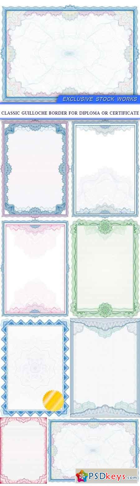 Classic guilloche border for diploma or certificate 8X EPS