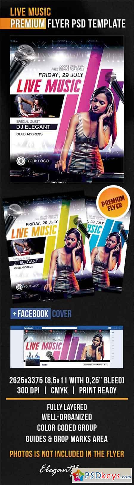 Live Music Flyer PSD Template + Facebook Cover