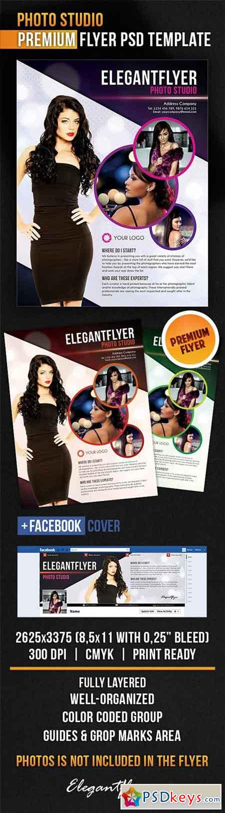 Photo Studio Flyer PSD Template + Facebook Cover